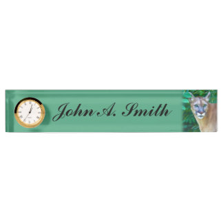 Cougar in the Jungle Customizable Name Nameplate