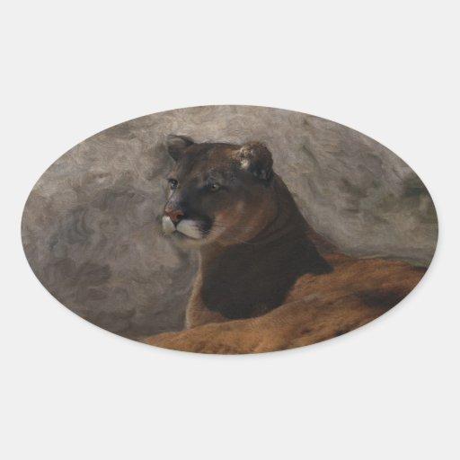Cougar Mountain Lion Big Cat Art Design Oval Sticker