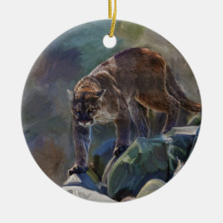 Cougar Mountain Lion Big Cat Painting 5 Ceramic Ornament