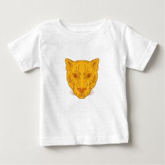 Cougar Mountain Lion Head Mono Line Baby T-Shirt