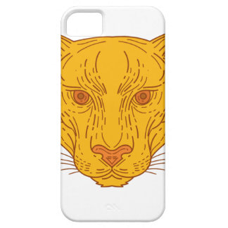 Cougar Mountain Lion Head Mono Line Case For The iPhone 5