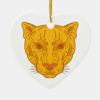 Cougar Mountain Lion Head Mono Line Ceramic Ornament