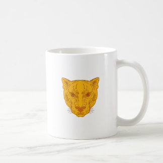 Cougar Mountain Lion Head Mono Line Coffee Mug