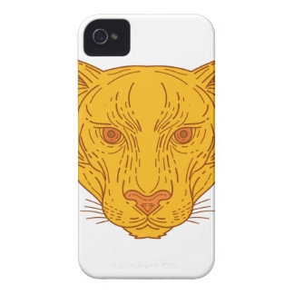 Cougar Mountain Lion Head Mono Line iPhone 4 Case