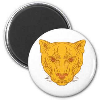 Cougar Mountain Lion Head Mono Line Magnet