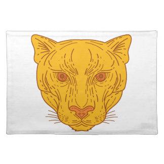 Cougar Mountain Lion Head Mono Line Placemat