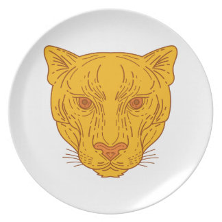 Cougar Mountain Lion Head Mono Line Plate