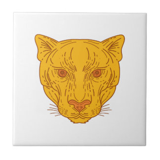 Cougar Mountain Lion Head Mono Line Tile