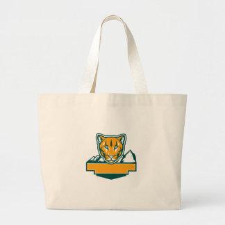 Cougar Mountain Lion Head Retro Large Tote Bag