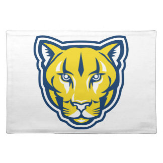 Cougar Mountain Lion Head Retro Placemat