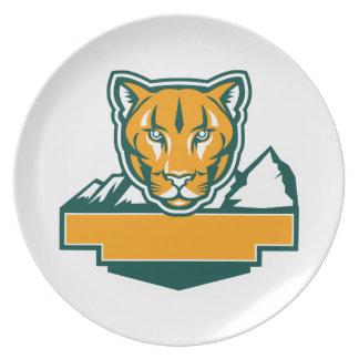 Cougar Mountain Lion Head Retro Plate