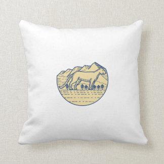 Cougar Mountain Lion Tree Mono Line Throw Pillow