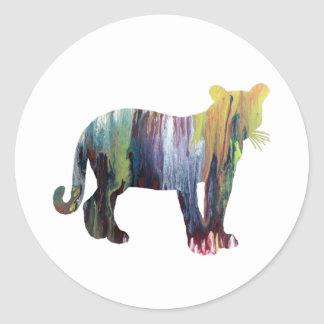 Cougar / Puma art Classic Round Sticker