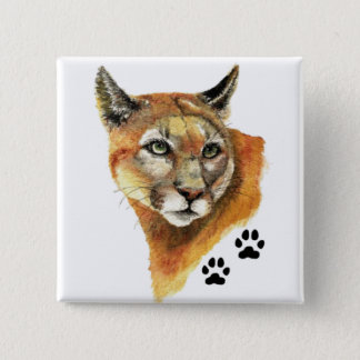 Cougar, Puma, Mountain Lion Animal Tracks 2 Inch Square Button