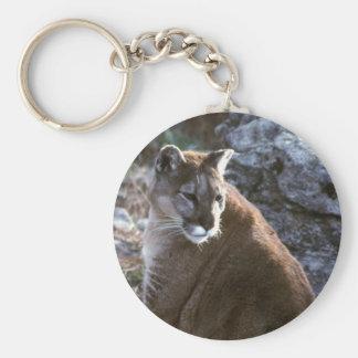 Cougar sitting basic round button keychain