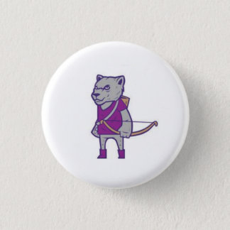 Cougar with Bow 1 Inch Round Button