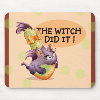 COUGETTE CUTE WITCH CARTOON MOUSE PAD