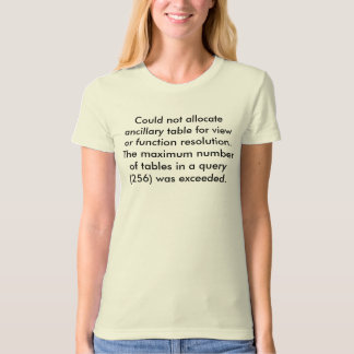 Could not allocate ancillary table for view or ... T-Shirt