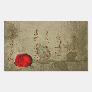 Couleur de tache de sépia Rosebud rouge épousant Sticker Rectangulaire