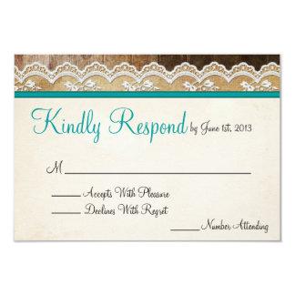 Couleurs personnalisables de dentelle rustique carton d'invitation 8,89 cm x 12,70 cm