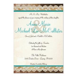 Couleurs personnalisables de dentelle rustique carton d'invitation  12,7 cm x 17,78 cm