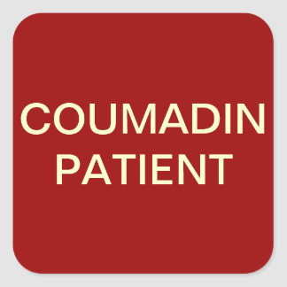 Coumadin Patient Chart Label Square Sticker