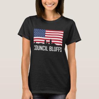 Council Bluffs Iowa Skyline American Flag T-Shirt