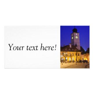 Council tower at night, Sibiu Custom Photo Card