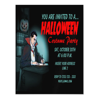 Count Dracula Halloween Party Magnetic Invitations