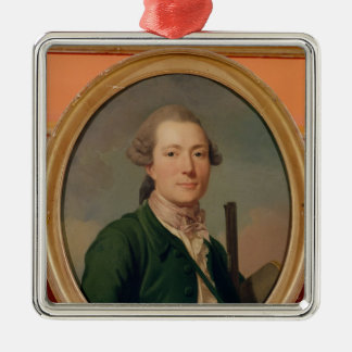 Count Pierre-Francois de Cluzel  in Hunting Silver-Colored Square Ornament