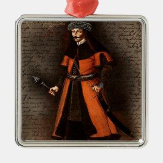 Count Vlad Dracula Silver-Colored Square Ornament