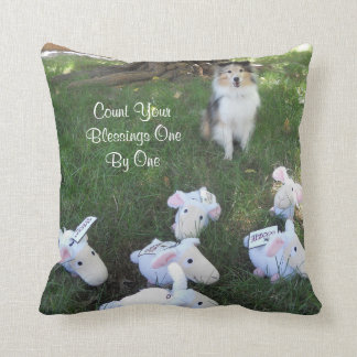 Count Your Blessings Sheltie and Sheep Throw Pillow