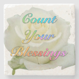 """Count Your Blessings"" White Rose Marble Coaster"