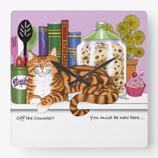 Counter Top Cat Square Wall Clock