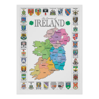 Counties of Ireland Poster