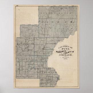 Counties of Pine, Kanabec, Minnesota Poster