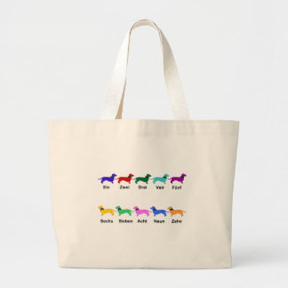 Counting German Dachshunds Large Tote Bag