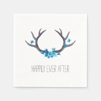 Country Antlers Blue Wedding Paper Napkin
