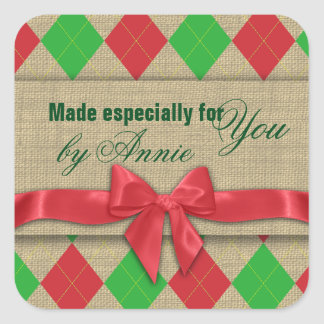 Country Argyle Burlap and Bow Square Sticker