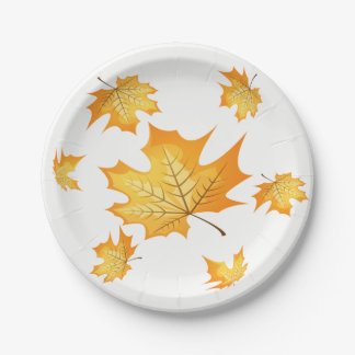 Country Autumn Orange Leaves Fall Wedding Party Paper Plate