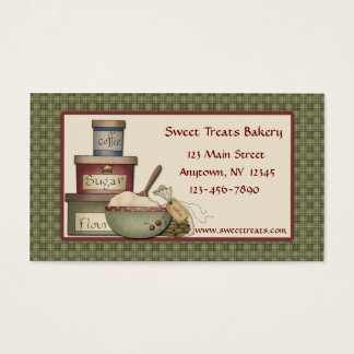 Country Baking, Green Checks Border, Business Card