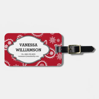 Country Bandana Style Red & White Paisley Pattern Luggage Tag