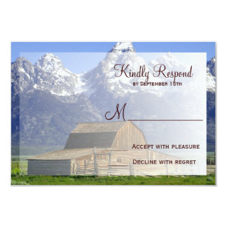 Country Barn Rocky Mountain Wedding RSVP Cards Invites