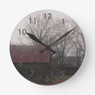 Country Barn Rustic Winter Scene Autumn Americana Round Clock