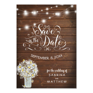 Country Barn Wood  Mason Jar Daisy BarefootBride™ Card