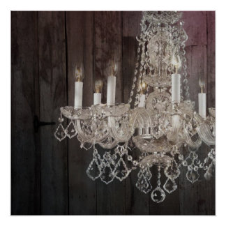 Country barn wood Parisian vintage chandelier Poster
