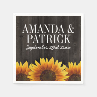 Country Barn Wood + Rustic Sunflower Wedding Paper Napkin