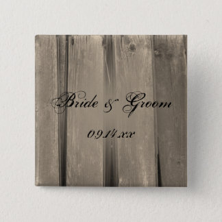 Country Barn Wood Wedding Button