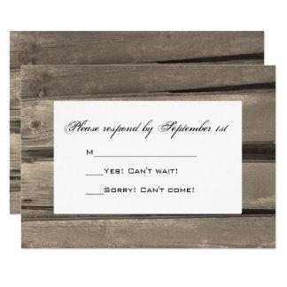 Country Barn Wood Wedding RSVP Response Card