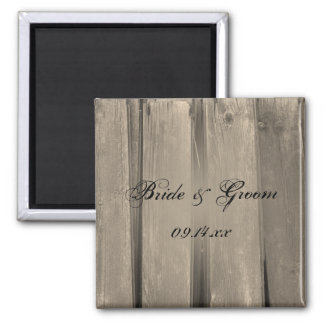 Country Barn Wood Wedding Save the Date 2 Inch Square Magnet